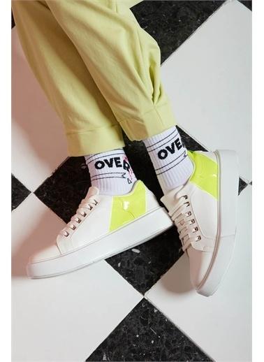 Mizalle Mizalle Neon Kalın Taban Sneaker  Sarı